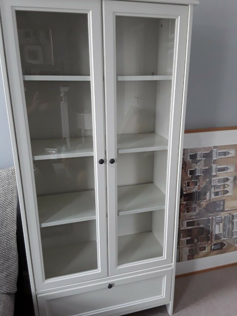 White Ikea Display Cabinet Glass Doors 4 Shelves And