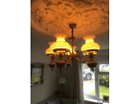 Two Antique Solid Brass Ceiling Lights With Five Glass Lampshades