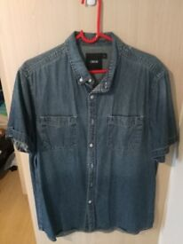 ASOS Denim Blue Men's Short Sleeve Shirt Large