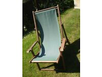 'The Armchair Deckchair' Green Canvas and Beech Wood Deck Chair with Arm Rests