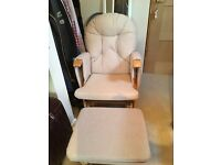 Rocking and gliding nursing chair and stool
