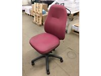 Black & Red Fabric, Swivel Office Chair, With Coat Hanger