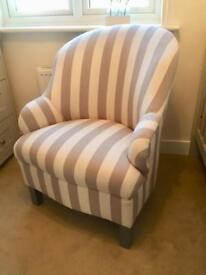 Grey/White striped occasional/arm chair