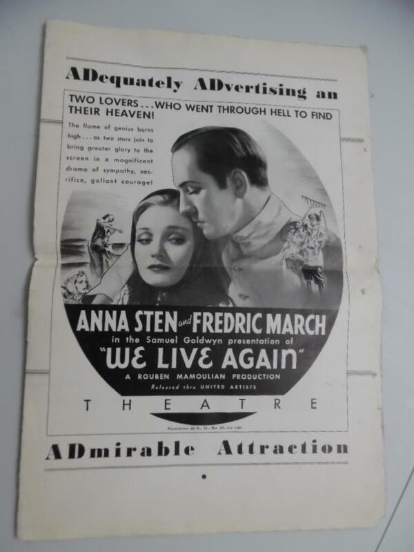 1934 WE LIVE AGAIN Movie Pressbook Frederic March United Artists Vintage ORIG.