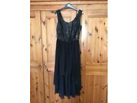 Red Herring black dress size 12 with sequin bodice and drop hem skirt.
