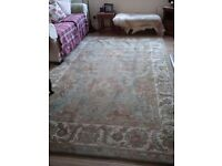 Handmade large wool traditional Persian rug, duckegg colour, 280 x 180cm, very good condition
