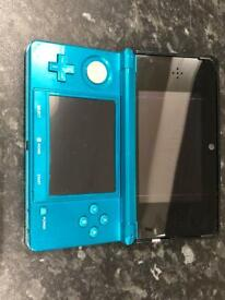 Nintendo 3DS metallic aqua blue with case and charger