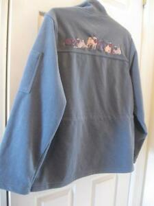 LADIES' EXCLUSIVE PUG-DOG-OWNERS' OFFICIAL SUEDE-LIKE TEAL JACKET  SIZE LARGE