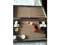 ANTIQUE LEATHER AND IVORY BACKGAMMON SET