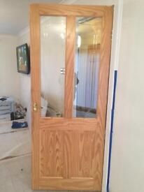Solid pine door with glass panes