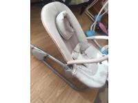 Mamas and papas baby bouncer + baby baths and changing mat