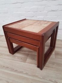 Vintage Tiled Nest Of Tables (DELIVERY AVAILABLE FOR THIS ITEM OF FURNITURE)