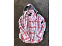 superdry pink check shirt with hood