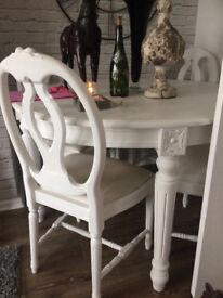 White shabby chic table and chairs