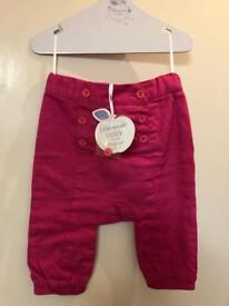 Girls Trousers by Designer Brand Bonnie Mob - 3-6mth Brand New