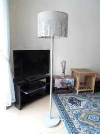 Standard Lamp, grey metal stand and shade.