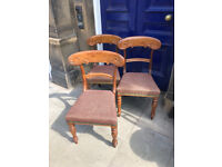 3 x Mahogany Framed Chairs - Lovely detail