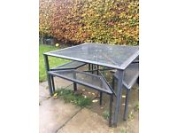 Metal Square Garden Table and Chairs