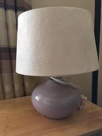 Purple & cream bedside lamp