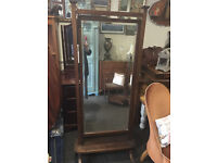 Beautiful Antique Victorian Carved Cheval Mahogany Tilting Full Length Mirror