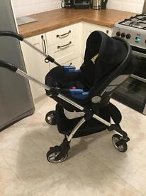 Silver cross wayfarer car seat, pram and travel cot