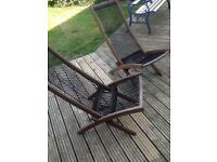 2 garden deck chairs hardwood with rope design