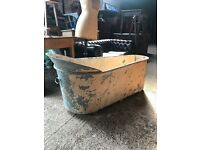 Antique French Original Painted Galvanized Bath Tub/Garden Planter