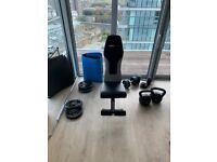 Home gym weights : Dumbbells x2 20kg + Kettlebells x2 12kg + Barbell and plates 50kg + Workout Bench