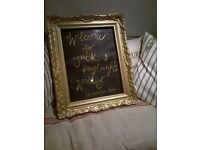 Vintage Gold ornate French louis style frame price list menu wedding welcome sign photo picture