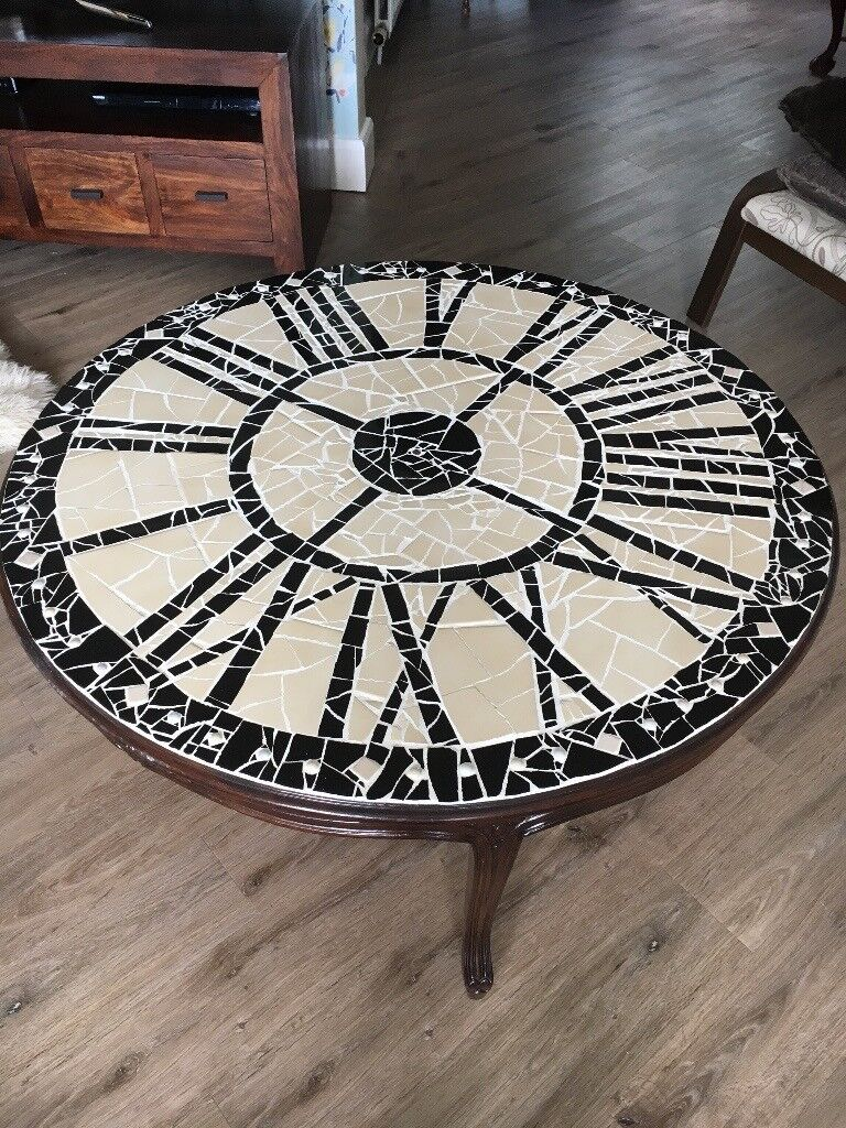 Mosaic Coffee Table With Clock Face