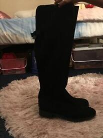 Lady's black suede knee length boots size 4