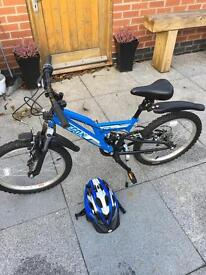 "excellent condition 20"" boys bike and cycle helmet"