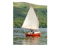 cornish cove sailing dinghy boat. 10 feet long, lug sail.