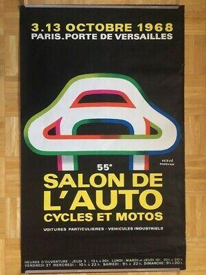 PARIS AUTO SHOW POSTER 1968 PORTE DE VERSAILLES ORIGINAL VINTAGE GOOD CONDITION Paris Porte De Versailles