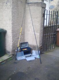 Two fishing rods with fishing box and rquipment