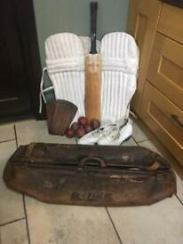 Vintage leather cricket bag and contents