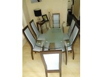 Italian Glass Dining Room Table, Chairs and Sideboard