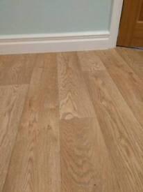 Oak effect vinyl flooring roll end