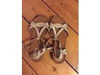 Clarks Sandals, gold metallic