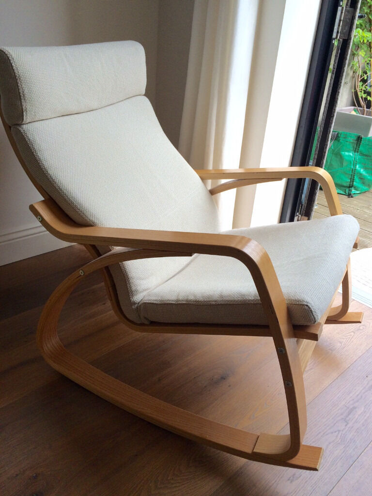 ikea poang rocking chair in lovley neutral fabric only a year old in chiswick london gumtree. Black Bedroom Furniture Sets. Home Design Ideas