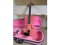 NEW PINK 3/4 VIOLIN WITH BOW AND PINK HARD CASE