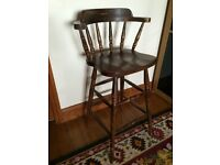 *excellent* SOLID OAK BAR STOOL ARM CHAIR - VERY HEAVY - SHABBY CHIC £45 ono