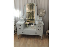 Antique shabby chic Edwardian dressing table with beveled mirror