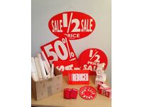"HUGE BUNDLE of ""SALE"" SIGNAGE/LABELS/STICKERS/POSTERS etc"