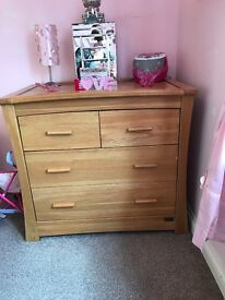 Mamas & Papas solid oak baby furniture. In good condition.