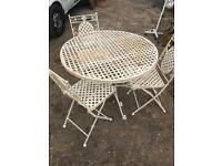 Quality heavy iron garden table & 3 chairs