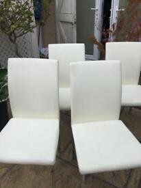 Cream and chrome leg chairs