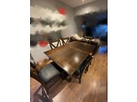 Nearly new solid Rubberwood & ash veneers, Extending dining table with 6 chairs