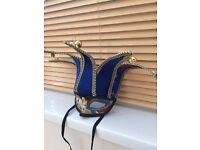 Blue & Gold Masquerade / Fancy Dress Jester Mask