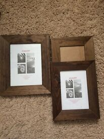 3 x dark wooden picture / photo frames